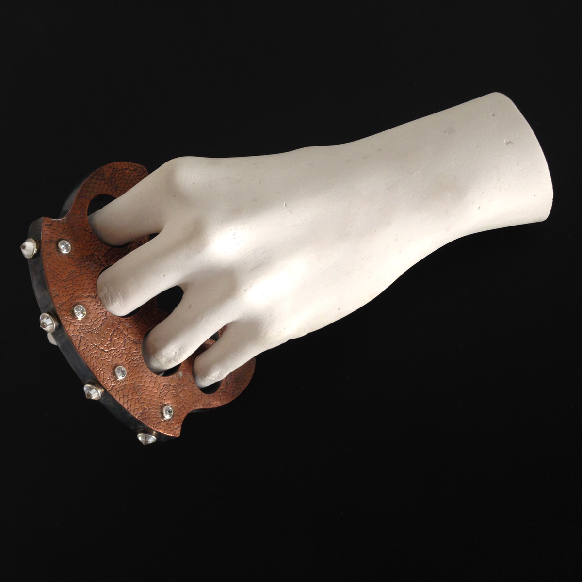Erin Cunningham A Little Lace, A Little Bling from Ladies Knuckles Series, 2015, copper, sterling silver, cubic zirconia